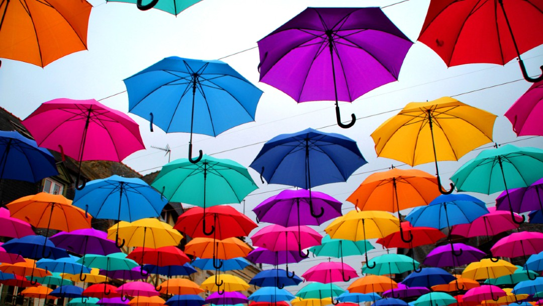 open umbrellas lined up on washing line, best commercial umbrella insurance coverage