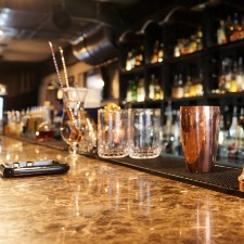 bar with cocktail glasses and beverage, liquor liability insurance, commercial insurance