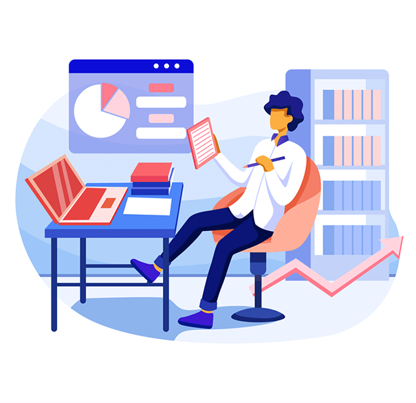 an illustration of a male accountant surrounded by graphs and books doing work on his laptop, Accounting Practice Insurance, JAISIN Insurance Solutions