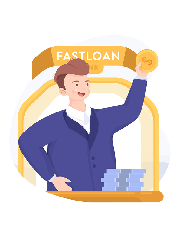 an illustration of a brown haired man holding a gold coin with a banner reading FastLoan Bank, Financial Institutions Insurance, JAISIN Insurance Solutions