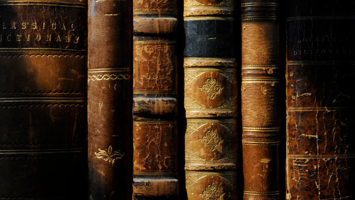 six aged and cracked leather-bound antique books, JAISIN Insurance Solutions
